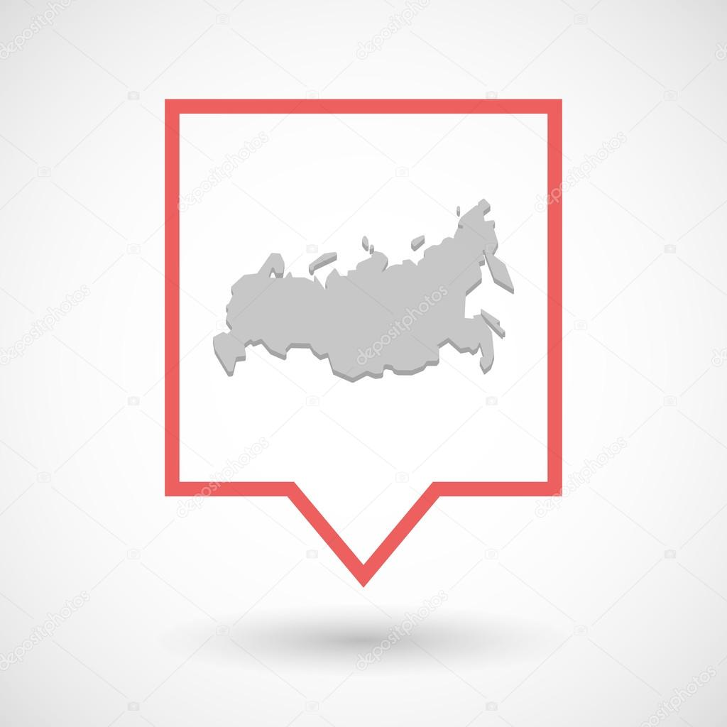 Isolated tooltip line art icon with  a map of Russia
