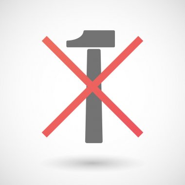 Not allowed icon with a hammer
