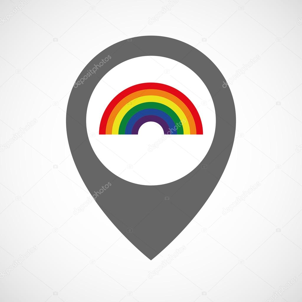 Isolated map marker with a rainbow — Stock Vector © jpgon