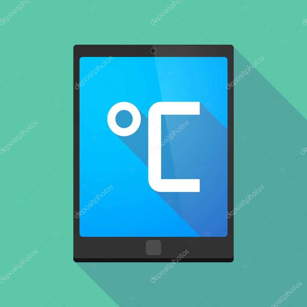 Long Shadow Tablet Pc Icon With A Celsius Degree Sign Stock Vector