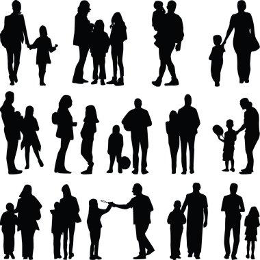 family silhouette vector