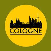 abstrakte Kölner Skyline mit verschiedenen Wahrzeichen