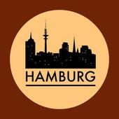 abstrakte Hamburger Skyline mit verschiedenen Wahrzeichen
