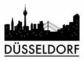 abstrakte Düsseldorfer Skyline, mit verschiedenen Wahrzeichen, mit Städten