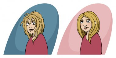 Girl, before and after concept, hair cut, hair treatment, charac
