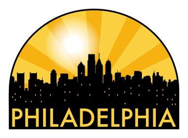 Abstract skyline Philadelphia, with various landmarks