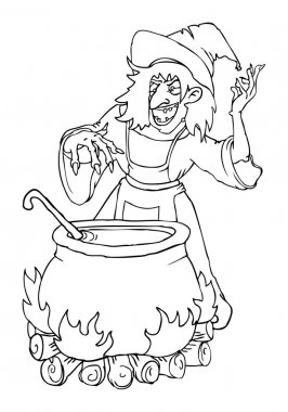 cartoon wicked witch at night with the cauldron of green goo