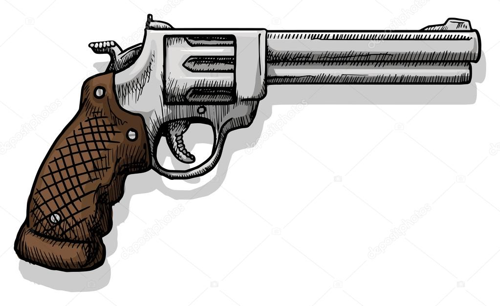 drawn pistol western gun pencil and in color drawn