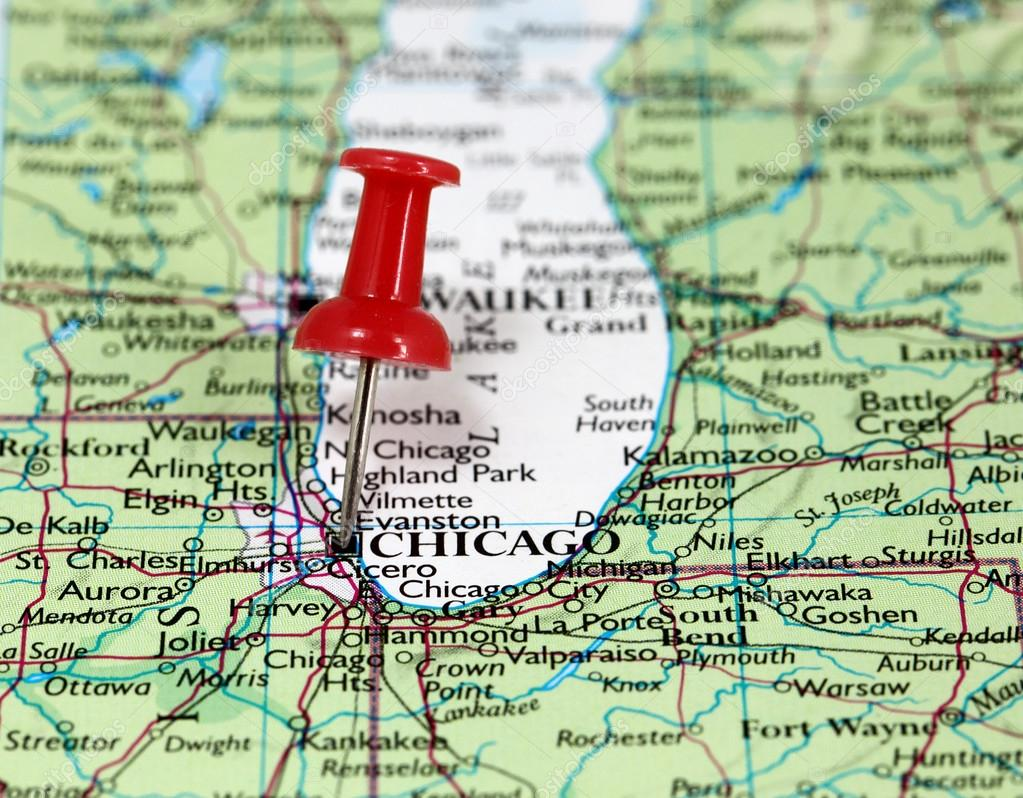 Karta Usa Chicago.Chicago I Usa Stockfotografi C Bobby22 107965128