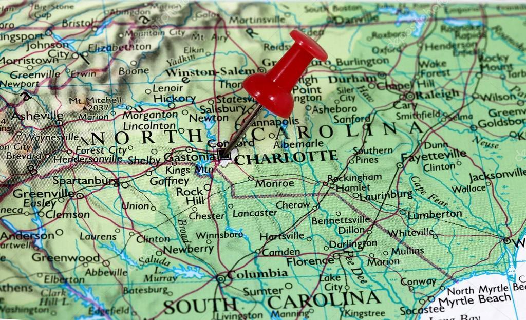 Carolina Del Norte Mapa.Charlotte In North Carolina Usa Stock Photo C Bobby22