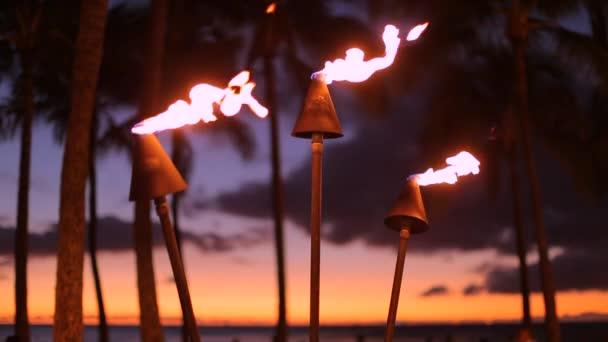 Tropické Hawaii oheň tiki pochodně