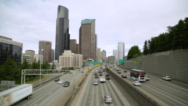 City buildings skyline and freeway