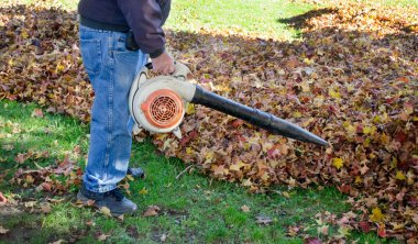 Worker with leaf blower