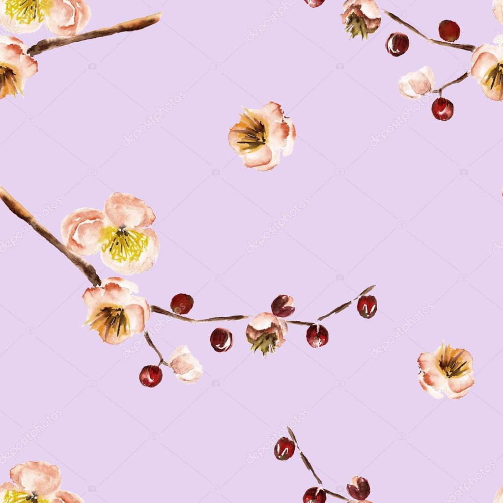 Seamless pattern with the branch of flowers. Watercolor illustration