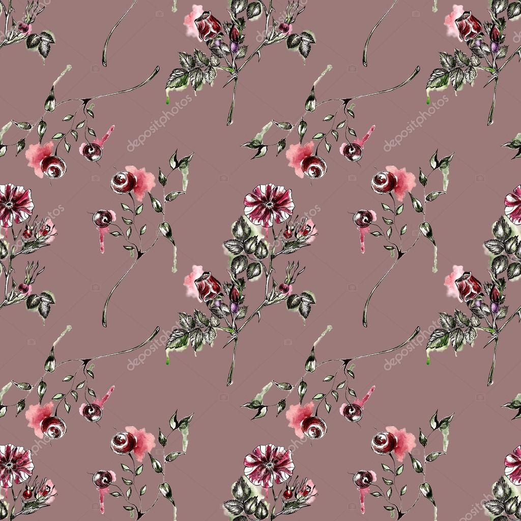 Seamless pattern with flowers. Watercolor illustration.