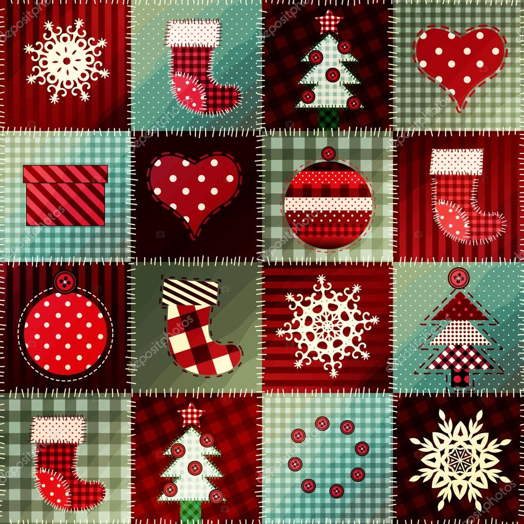 Cozy Christmas pattern in patchwork.