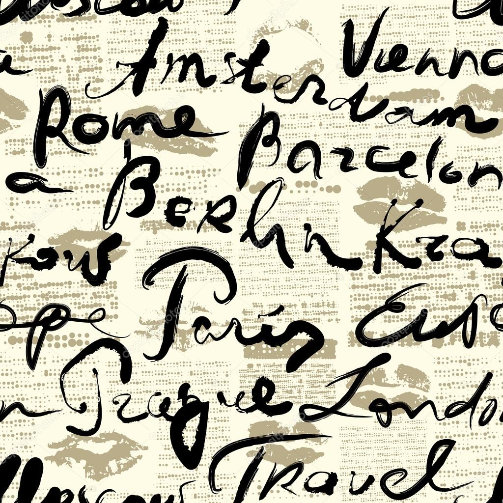 Travel background with inscriptions name of cities