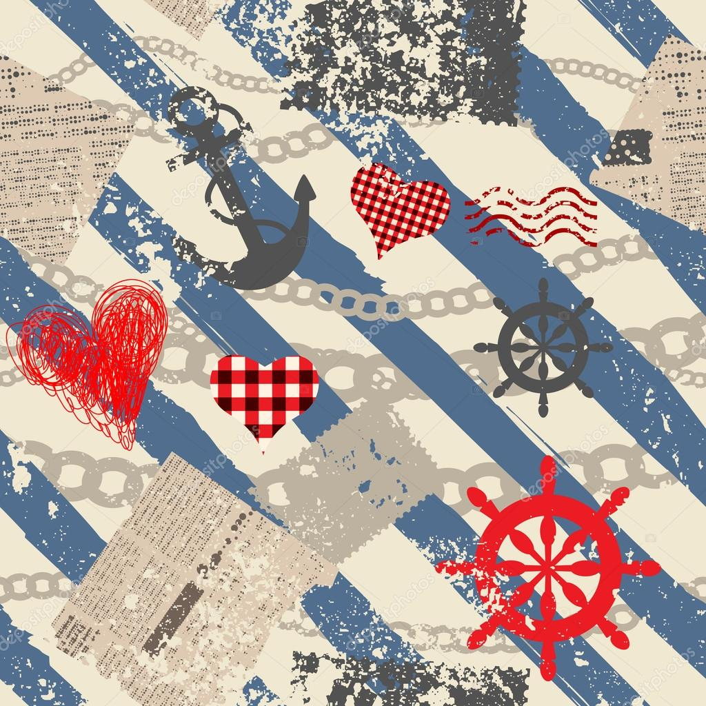 Grunge nautical pattern.