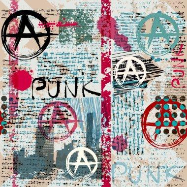 Grunge newspaper with word Punk.
