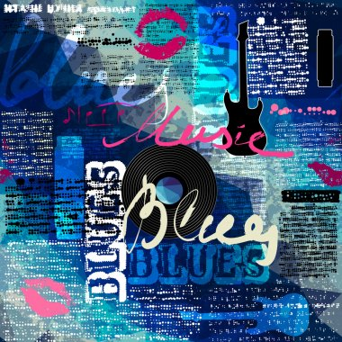 Grunge blue newspaper with original inscriptions Blues and music