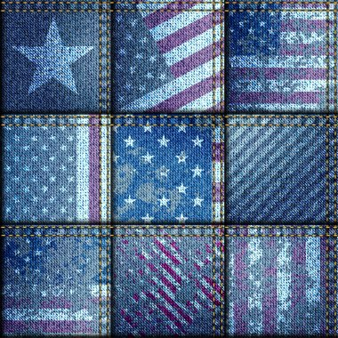 Grunge patchwork with USA flags.