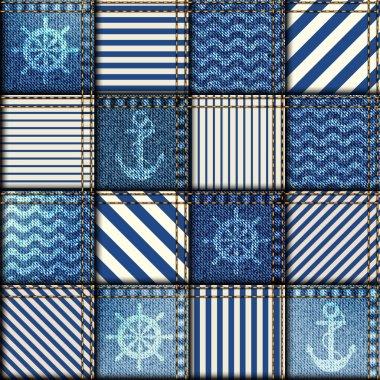 Patchwork of denim fabric.