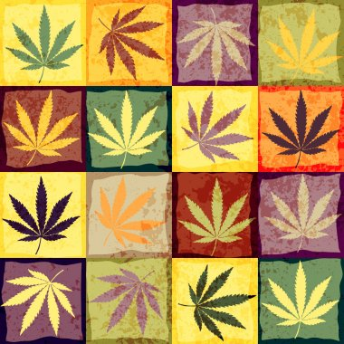 Hemp leaves in retro style.