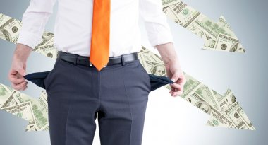 A businessman with an orange tie turning his empty pockets inside out. Front view, no head. Dollar arrows at the grey background. Concept of bankruptcy.