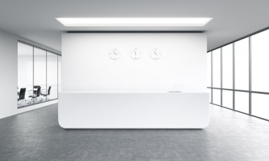 Empty office, white reception at white wall, three clocks on it. Panoramic window right, meeting room left.