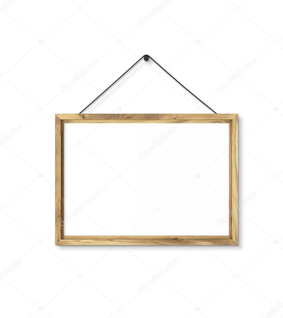 Blank wooden frame on nail. Isolated. Concept of picture on wall ...