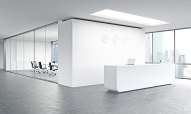 Empty office, white reception at white wall, three clocks on it. Panoramic window right, meeting room behind. Side view. Concept of reception. 3D rendering