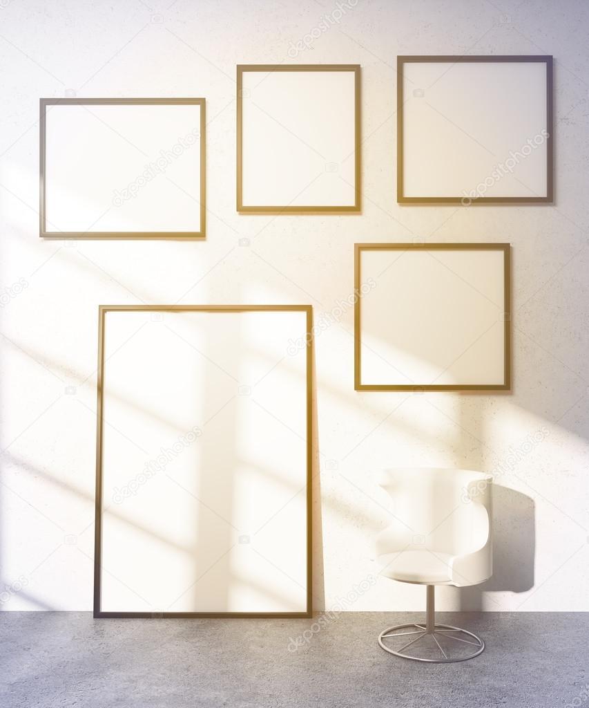 Five frames on wall — Stock Photo © denisismagilov #104185740