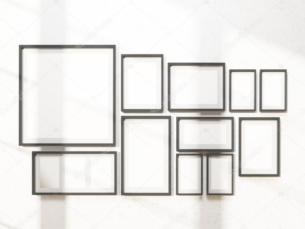 Many white frames on wall. Concept of exhibition. Mock up. 3D ...
