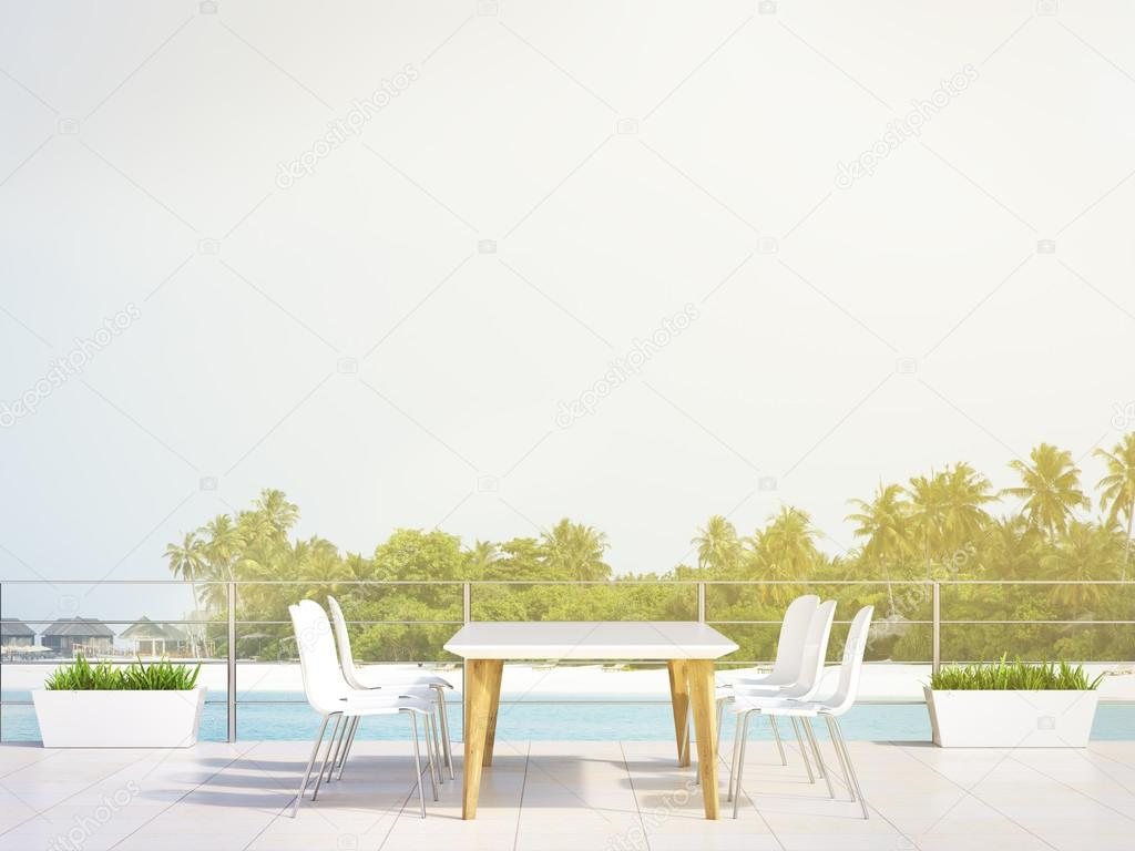 White table in beach restaurant, palm trees and sea at background. Concept of holiday. 3D rendering