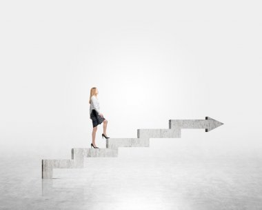 Businesswoman going up stairs shaped by concrete arrow. Concrete background. Concept of career growth. stock vector
