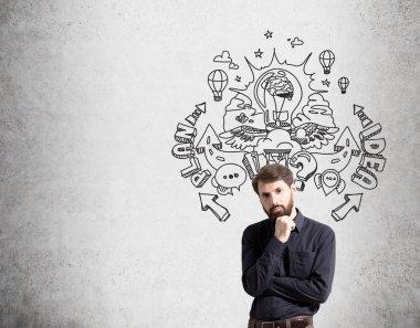 Idea concept bearded businessman