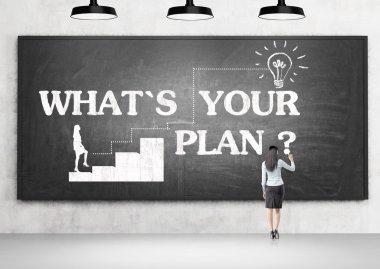 Planning concept woman blackboard
