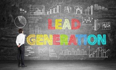 Lead generation concept on chalkboard