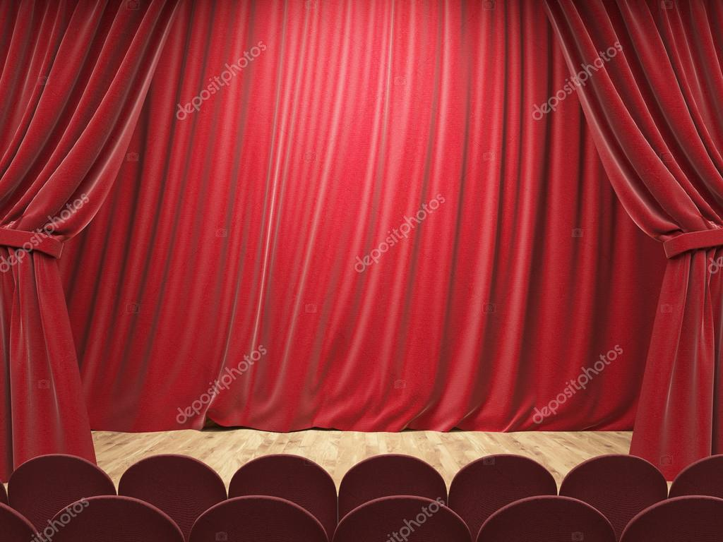 Amazing Theater Stage With Drawn Red Curtains. Mock Up, 3D Rendering U2014 Stock Photo #