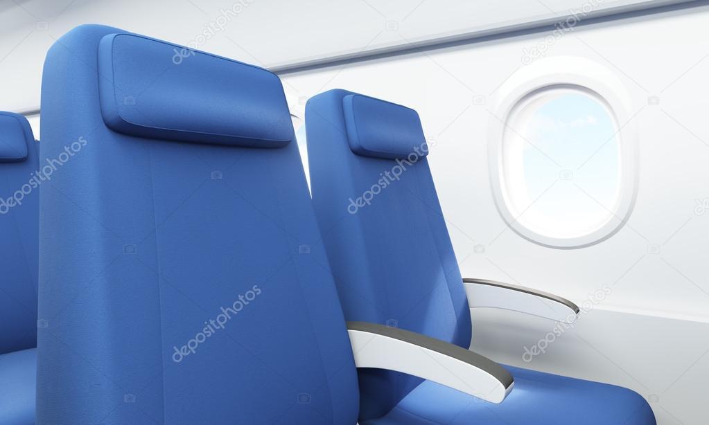 Airplane Seats Sky View Closeup Stock Photo