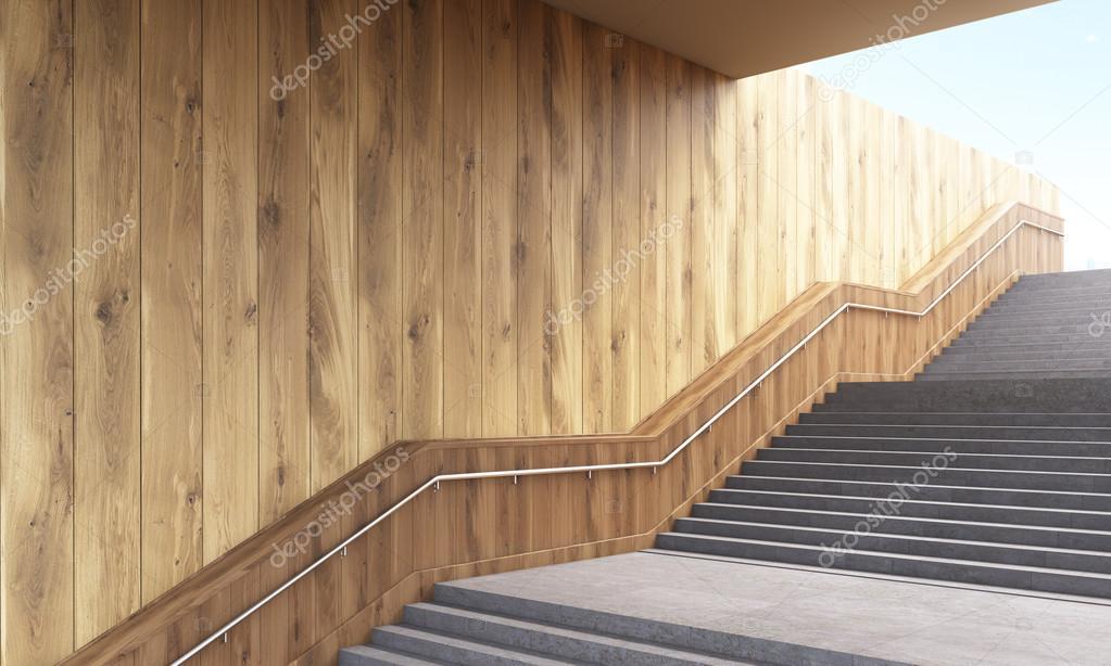 Oldalnézetből a lépcső korláttal és fából készült deszka. 3D ...