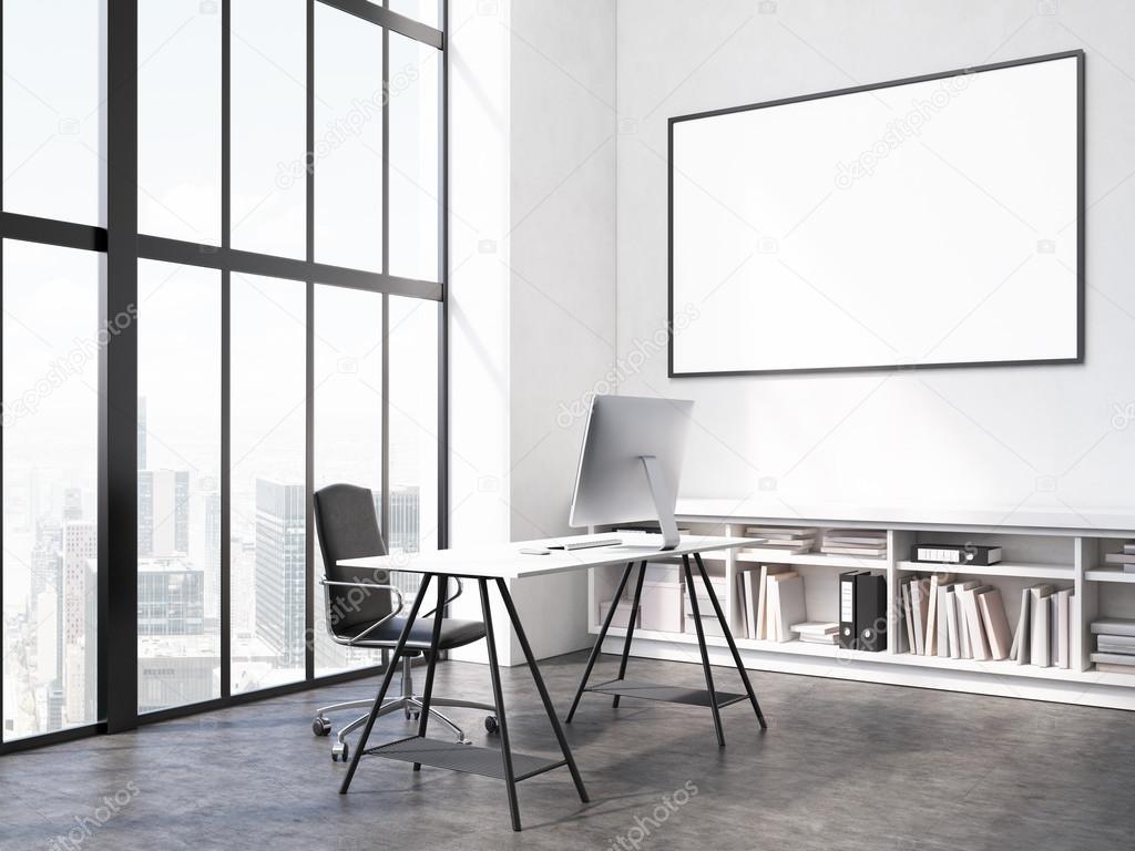 Interior de oficina con lugar de trabajo, el marco en blanco en la ...