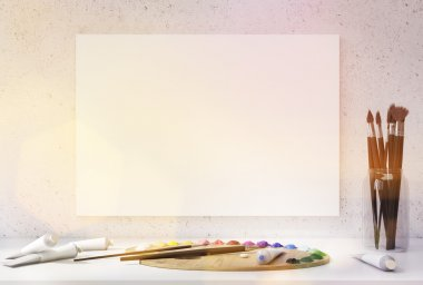 Blank canvas hanging on concrete wall above white desktop with oil paint palette, tubes and brushes. Toned image. Mock up, 3D Rendering stock vector