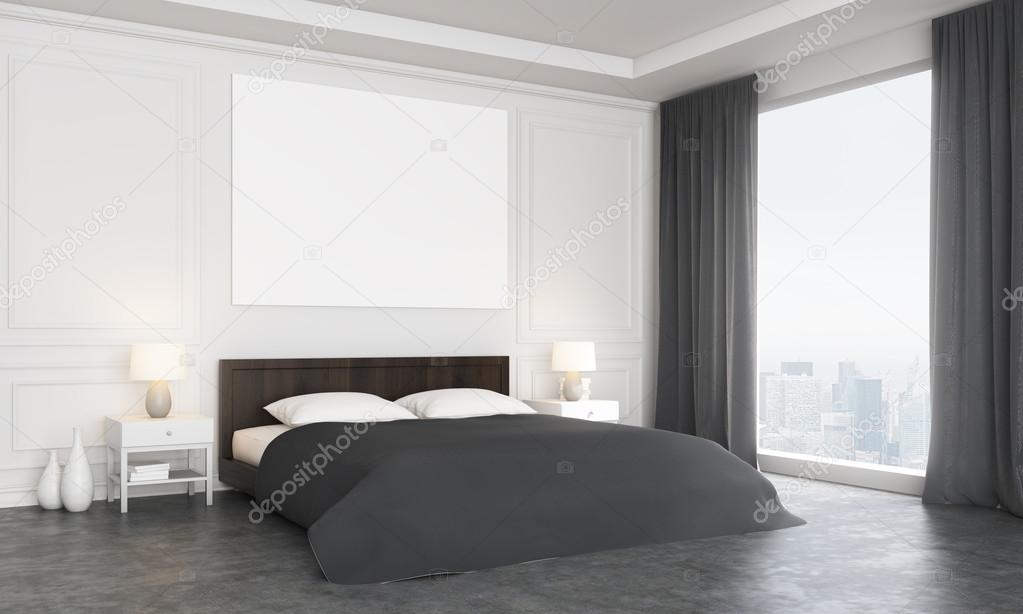 zijaanzicht van luxe slaapkamer interieur met lege poster boven het bed betonvloer en panoramisch raam