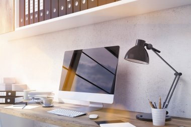 Blank monitor in office