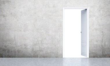 Open door in concrete room