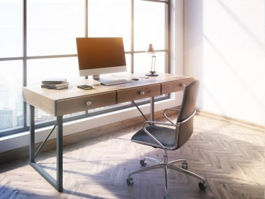 Workplace with blank computer monitor and other items in office interior with wooden floor, concrete wall and panoramic window with New York city view. Toned image. Mock up, 3D Rendering