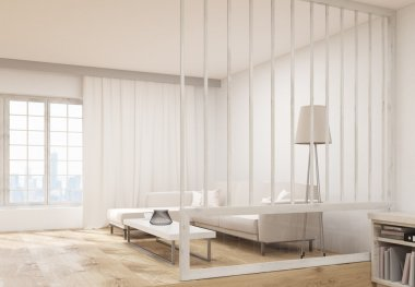 Living room interior sideview