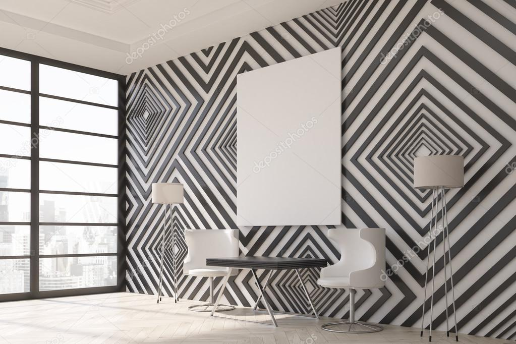 Modern Interior With Black And White Diamond Pattern Wallpaper Wooden Floor Small