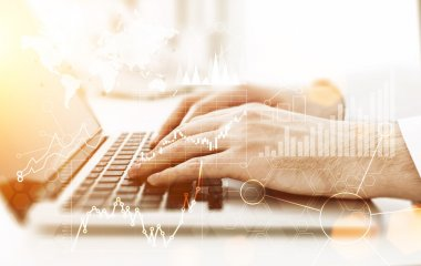 Closeup of male hands using laptop computer with abstract business charts and graphs on light background. Toned image, Side view stock vector